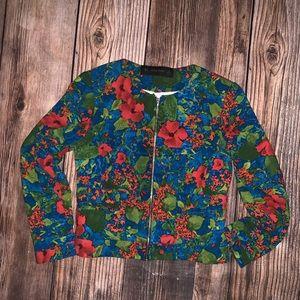 Zara basic Multicolor Floral Print Zip Up Jacket